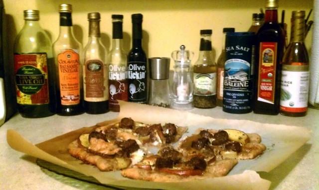 Artisanal Bison Sausage Goat Cheese Peach Pizza