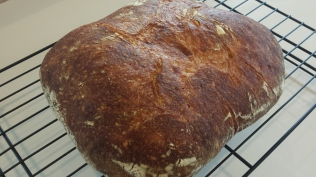 Baked peasant loaf.