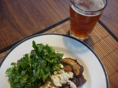 Skirt steak, porcini, and mixed green salad with an IRA from Cascade Lakes Brewing Company.