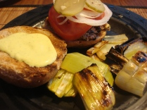 Black Bean Burger with Garlic Aioli and Grilled Leeks