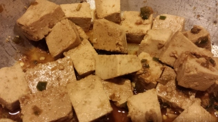 Marinated tofu leftovers.